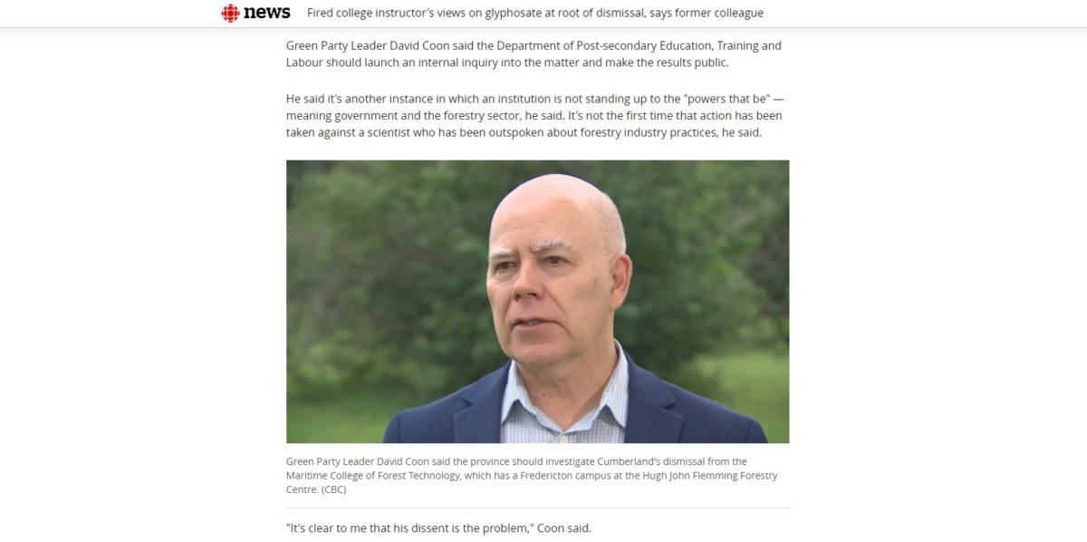 Les Verts réclament une enquête indépendante sur le congédiement de Rod Cumberland et les pratiques de gestion du CTFM