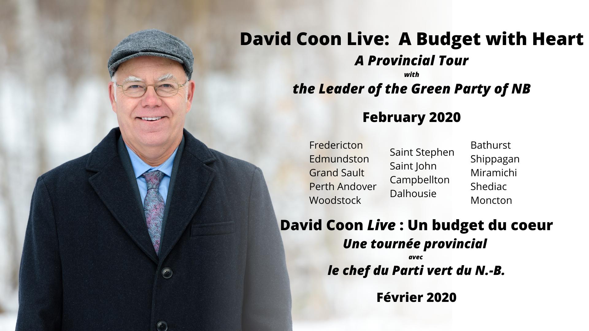 Le chef du Parti Vert entame sa tournée provinciale Budget du coeur